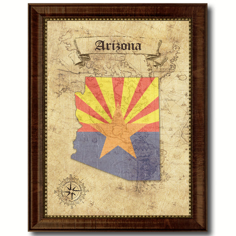 Arizona State Vintage Map Home Decor Wall Art Office Decoration Gift Ideas