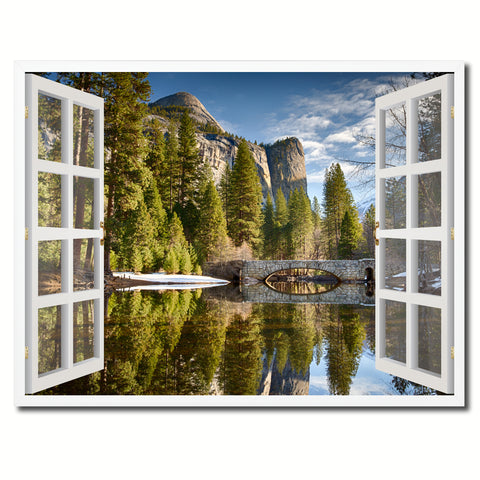 Bridal Veil Falls Yosemite National Park California Picture French Window Framed Canvas Print Home Decor Wall Art Collection