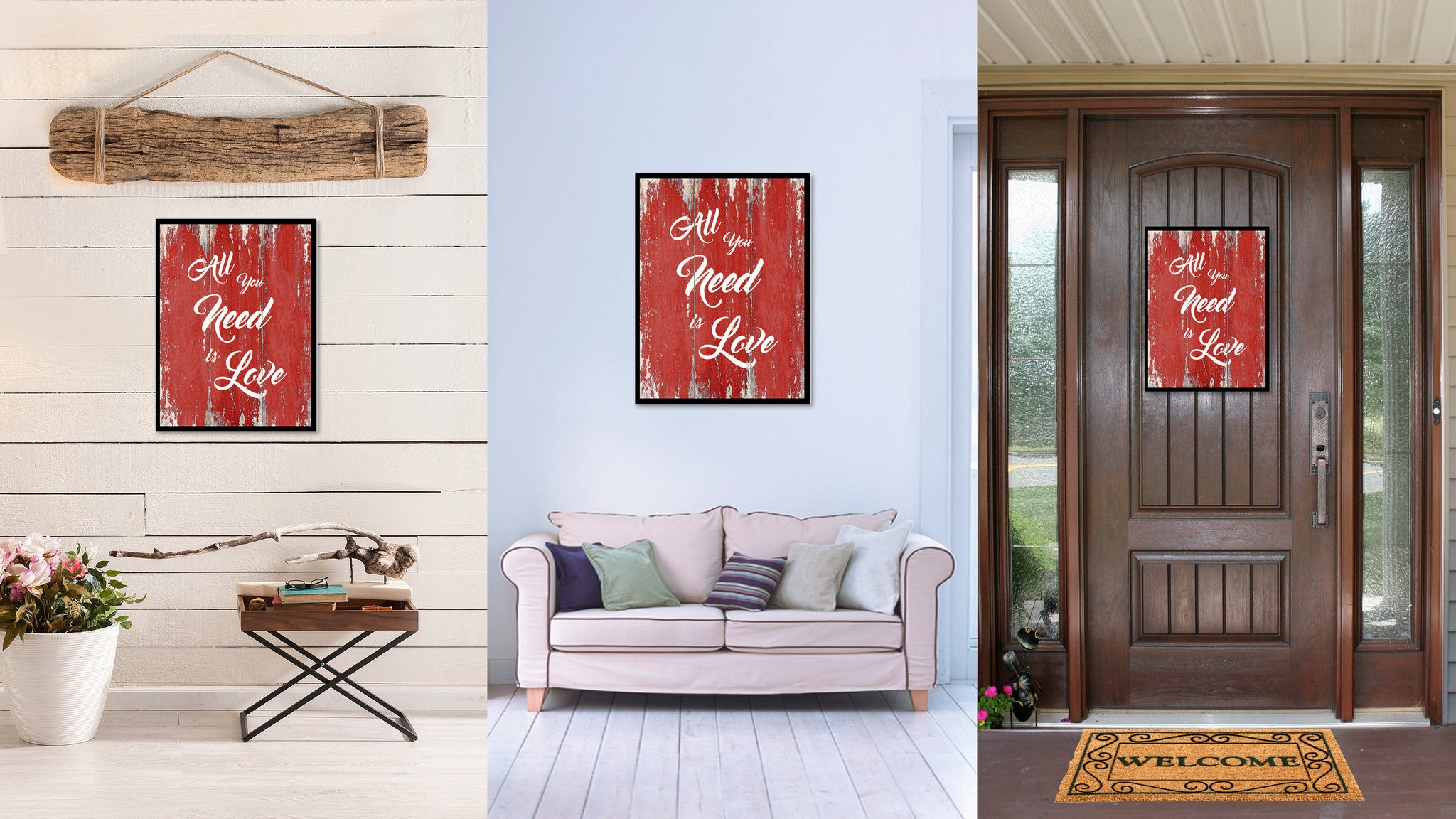 All You Need Is Love Happy Love Quote Saying Gift Ideas Home Decor Wall Art