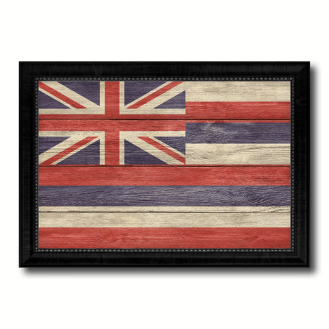 Hawaii State Flag Texture Canvas Print with Black Picture Frame Home Decor Man Cave Wall Art Collectible Decoration Artwork Gifts