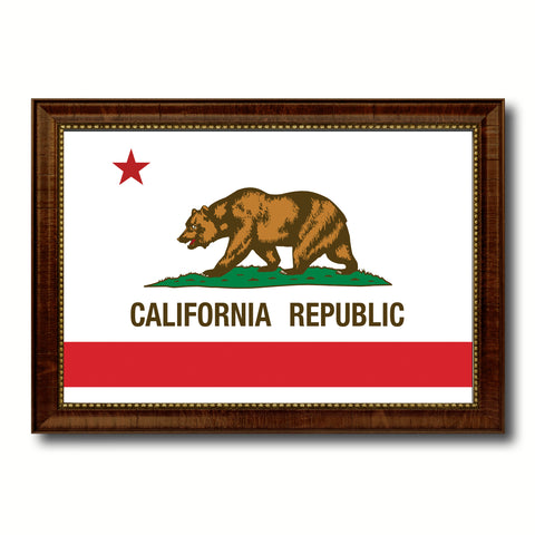 California State Flag Canvas Print with Custom Brown Picture Frame Home Decor Wall Art Decoration Gifts