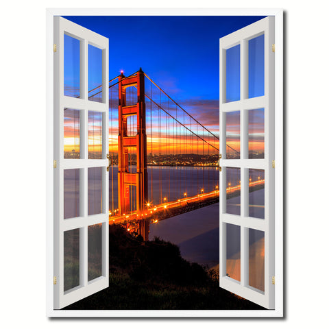 Golden Gate Bridge San Francisco California Sunset Picture French Window Canvas Print with Frame Gifts Home Decor Wall Art Collection