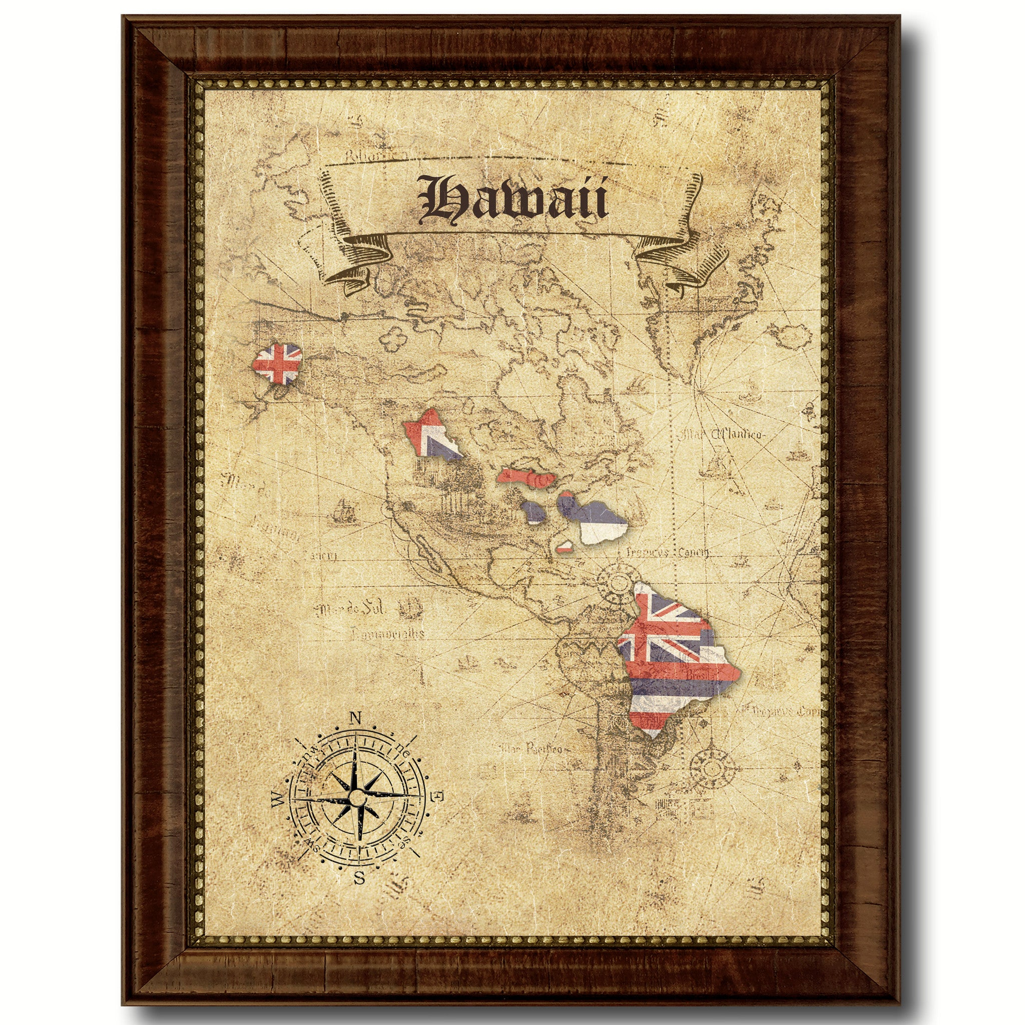 Hawaii State Vintage Map Art Office Wall Home Decor Rustic Gift ...