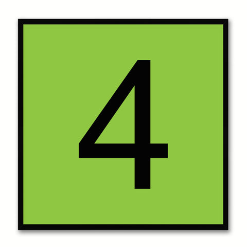 Number 4 Green Canvas Print Black Frame Kids Bedroom Wall Décor Home Art