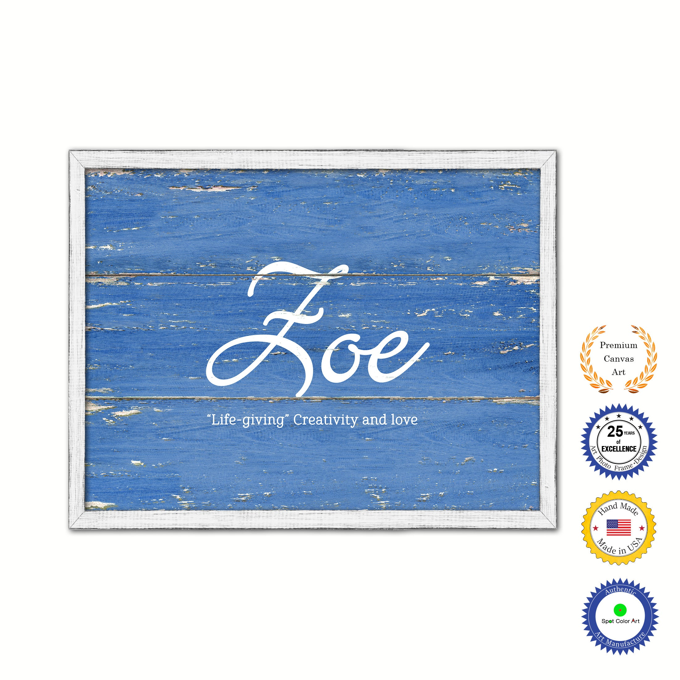 Zoe Name Plate White Wash Wood Frame Canvas Print Boutique Cottage Decor Shabby Chic