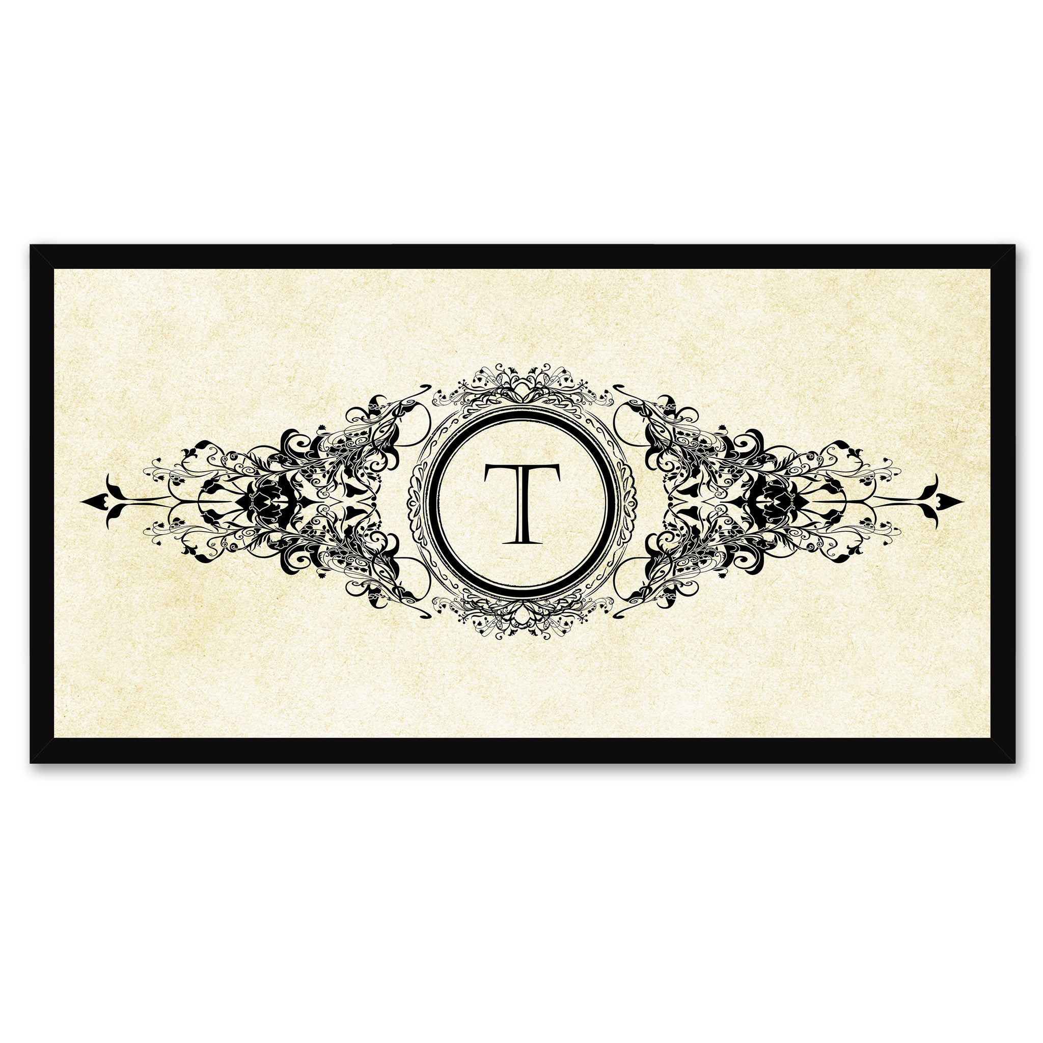 Alphabet Letter T White Canvas Print, Black Custom Frame