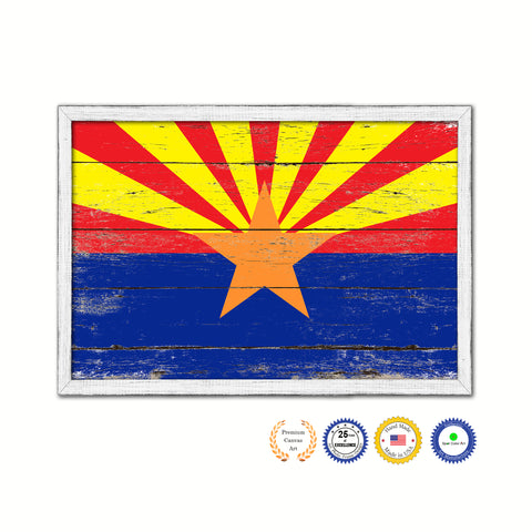 Arizona State Flag Shabby Chic Gifts Home Decor Wall Art Canvas Print, White Wash Wood Frame