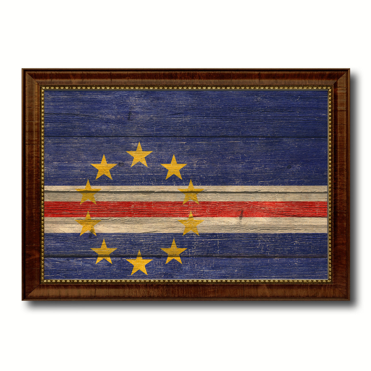 Cape Verde Country Flag Texture Canvas Print with Brown Custom Picture Frame Home Decor Gift Ideas Wall Art Decoration