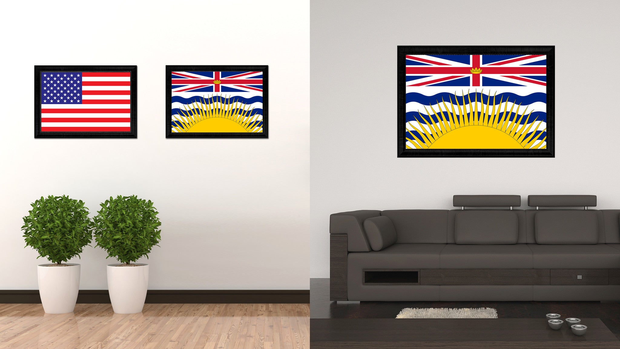 British Columbia Province City Canada Country Flag Canvas Print Black Picture Frame