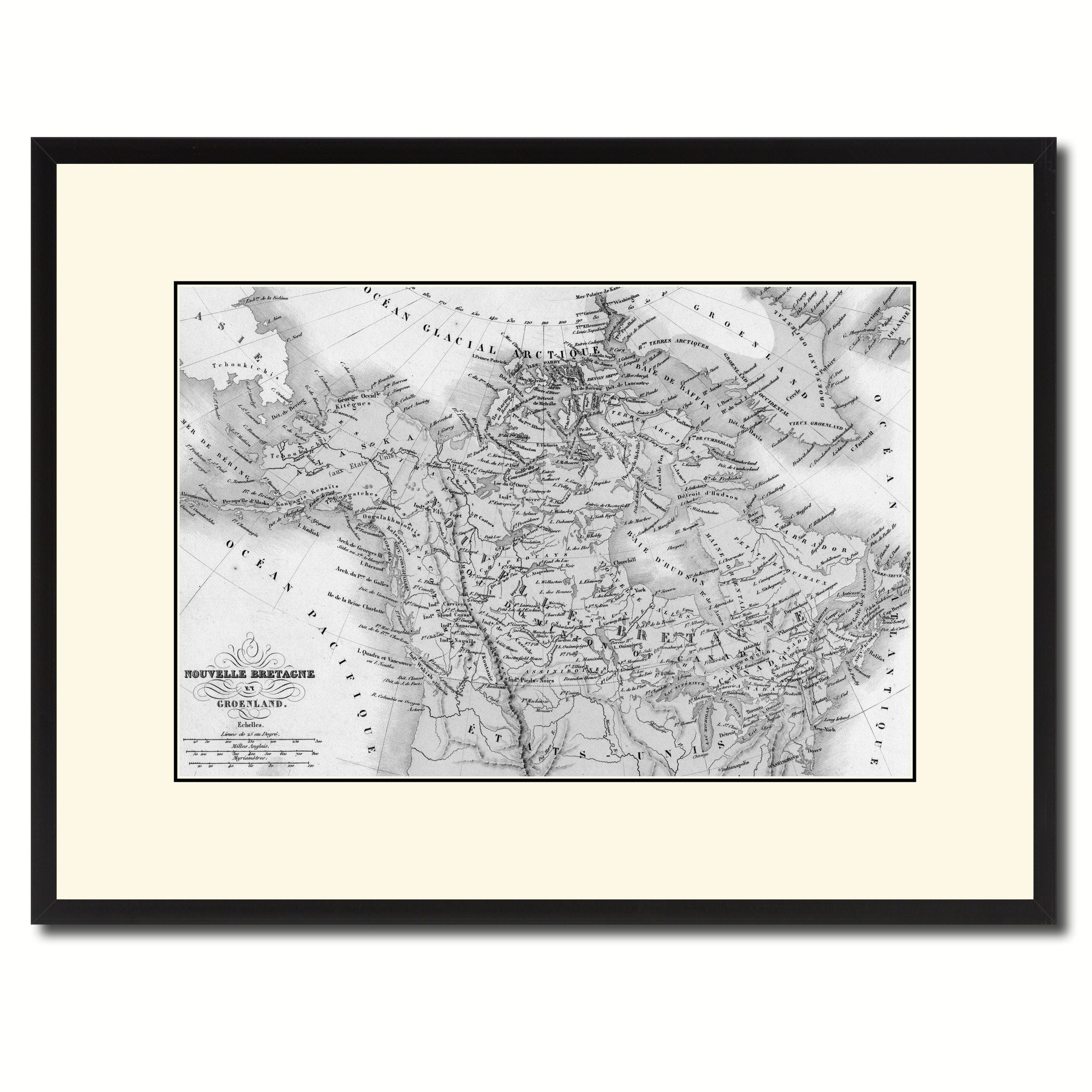 Canada Alaska Vintage B&W Map Canvas Print, Picture Frame Home Decor Wall Art Gift Ideas