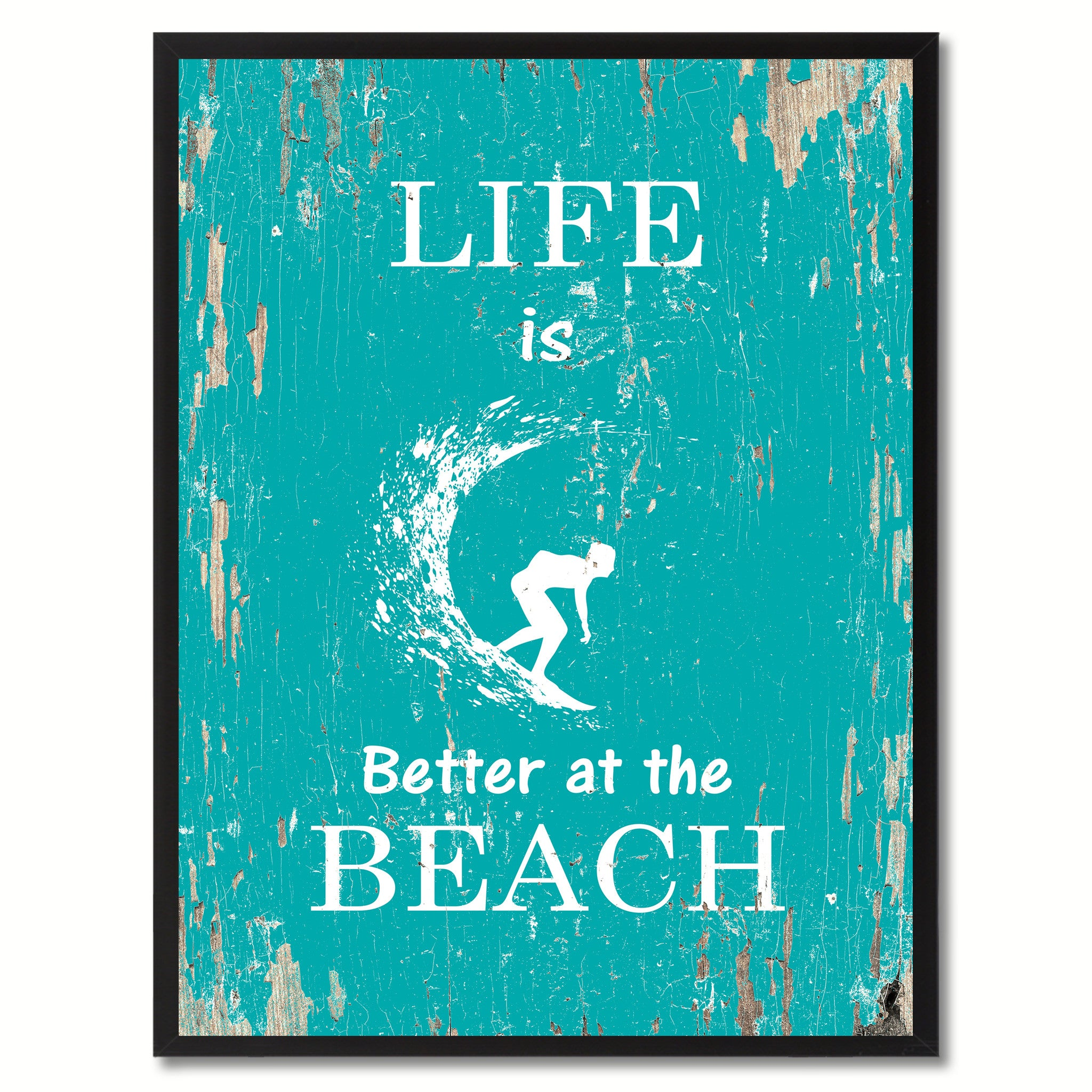 Life Is Better At The Beach Saying Canvas Print, Black Picture Frame Home Decor Wall Art Gifts