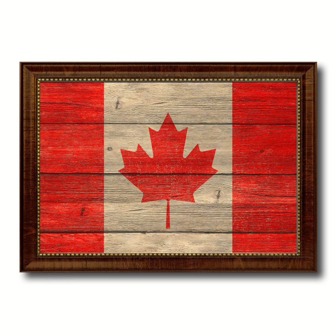 Canada Country Flag Texture Canvas Print with Brown Custom Picture Frame Home Decor Gift Ideas Wall Art Decoration