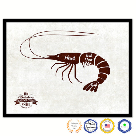 Shrimp Meat Cuts Butchers Chart Canvas Print Picture Frame Home Decor Wall Art Gifts