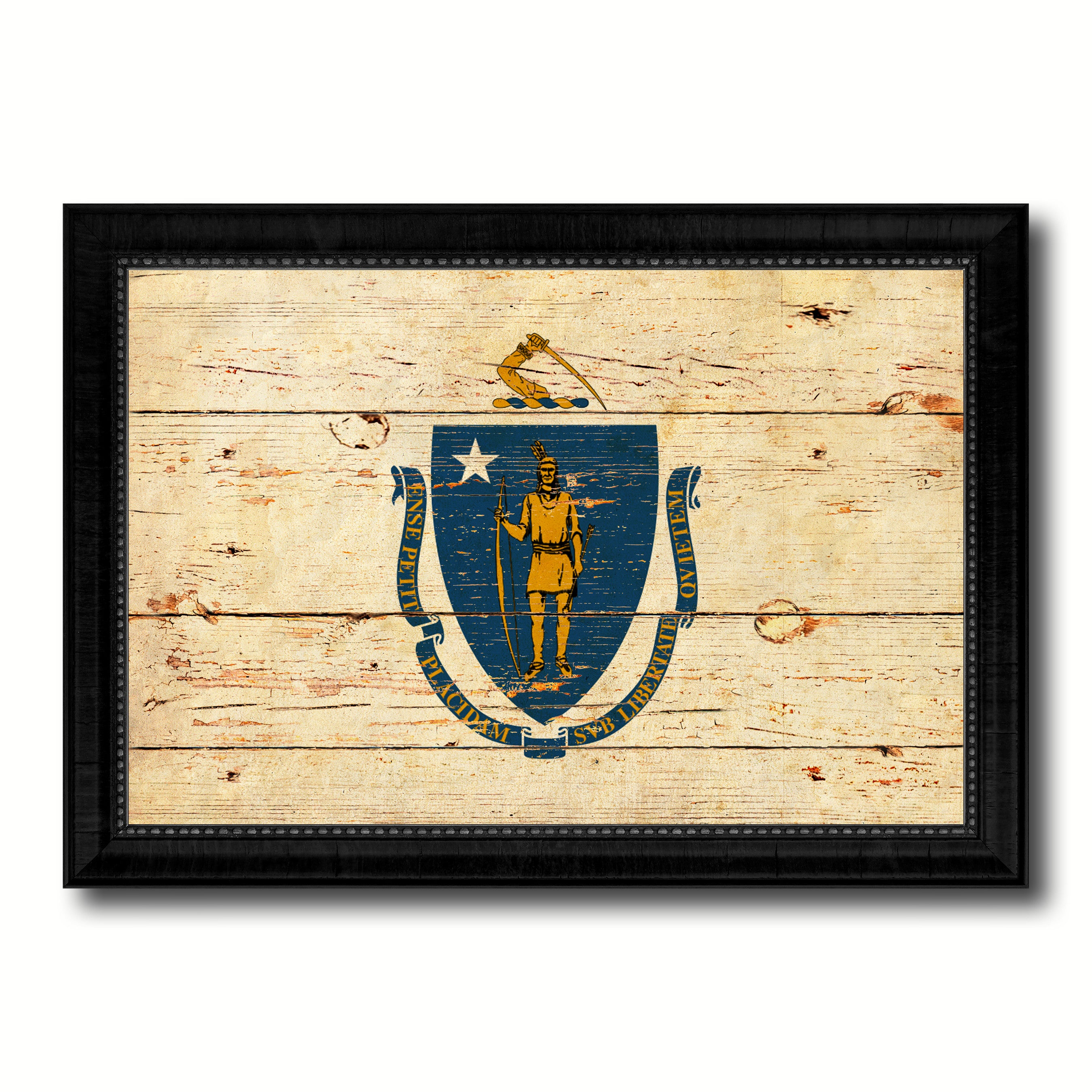Massachusetts State Vintage Flag Canvas Print with Black Picture ...