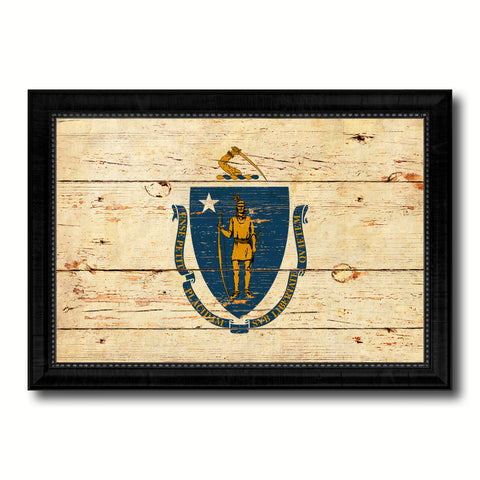 Massachusetts State Vintage Flag Canvas Print with Black Picture Frame Home Decor Man Cave Wall Art Collectible Decoration Artwork Gifts
