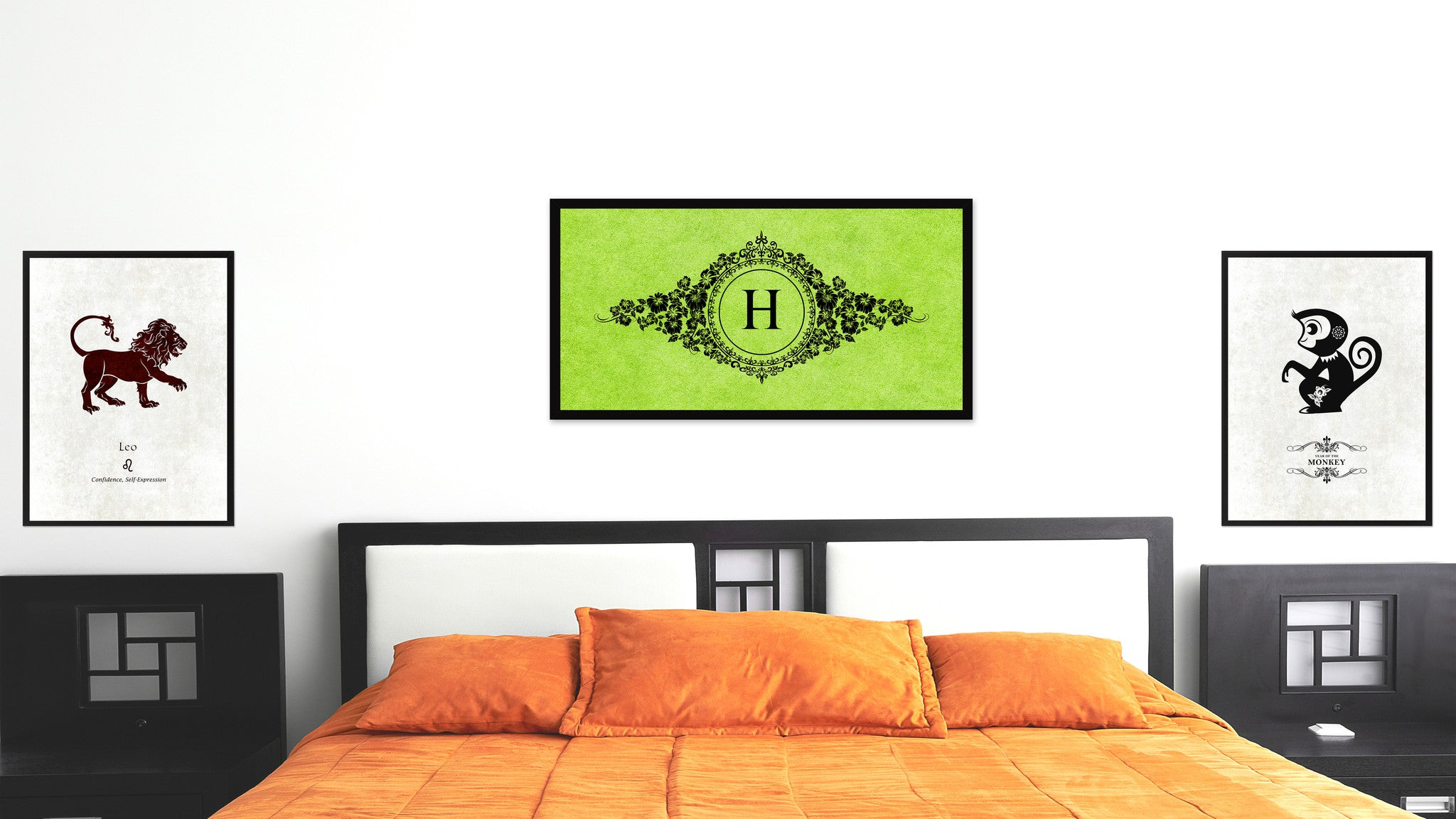 Alphabet Letter H Green Canvas Print, Black Custom Frame