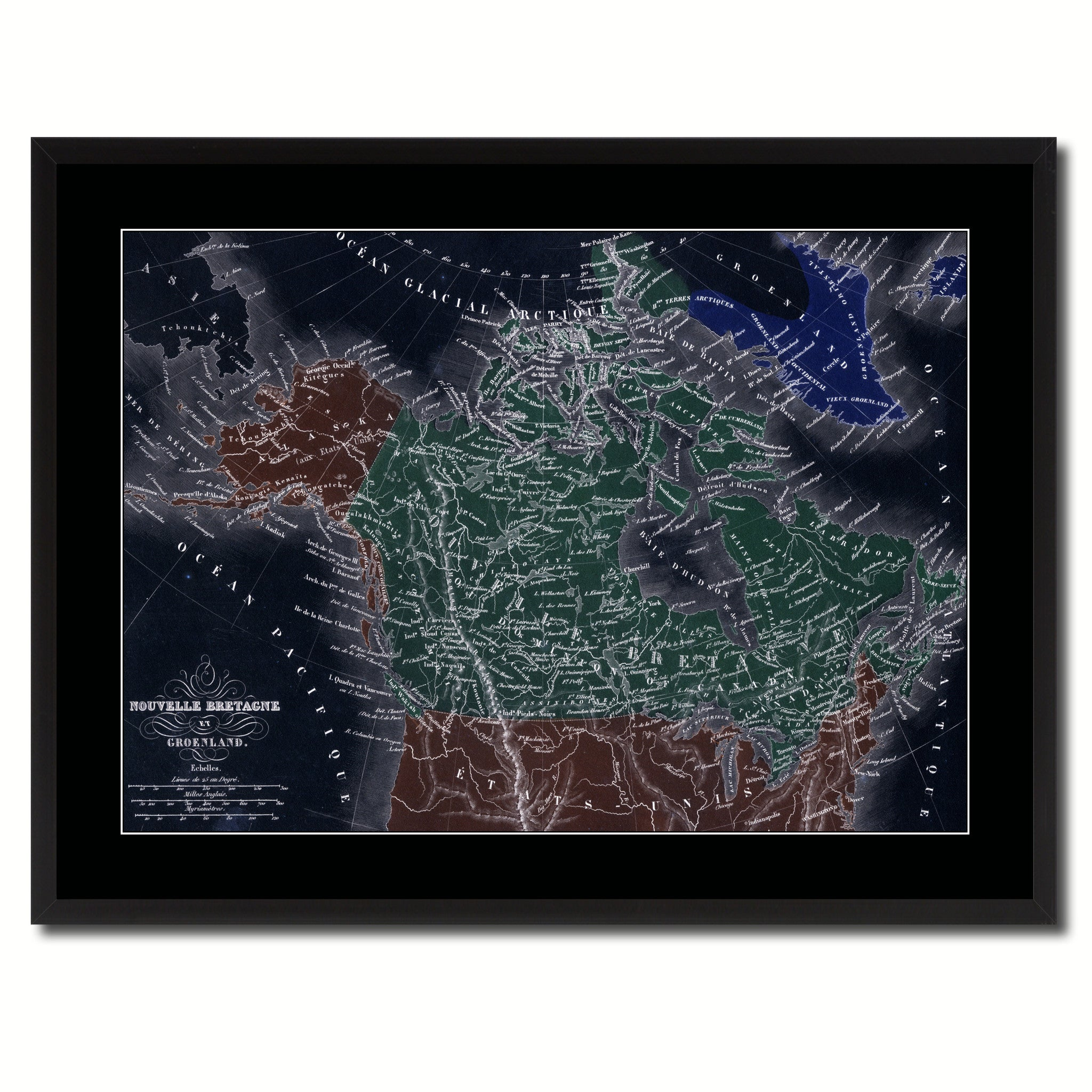 Canada Alaska Vintage Vivid Color Map Canvas Print, Picture Frame Home Decor Wall Art Office Decoration Gift Ideas