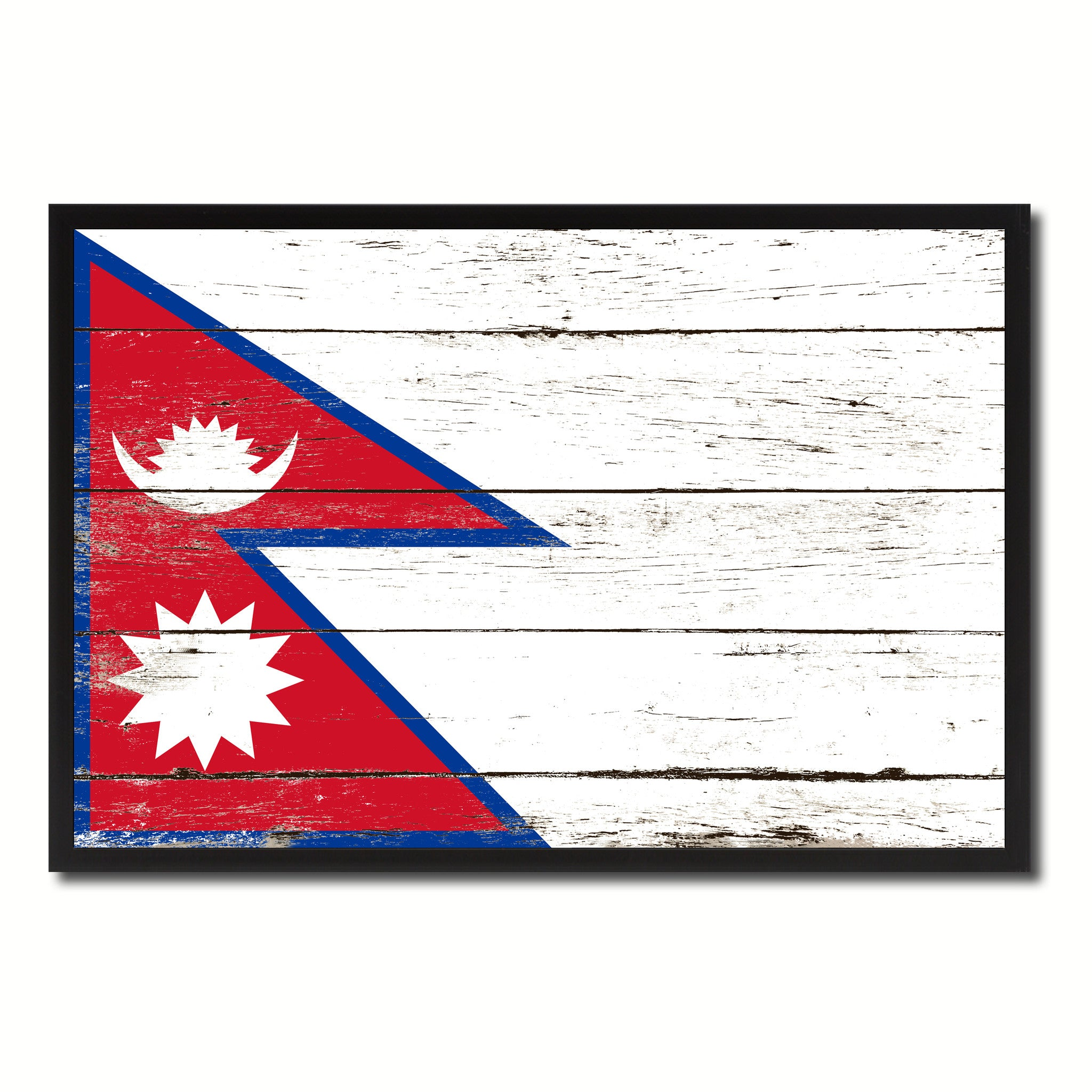 Nepal Country National Flag Vintage Canvas Print with Picture Frame Home Decor Wall Art Collection Gift Ideas