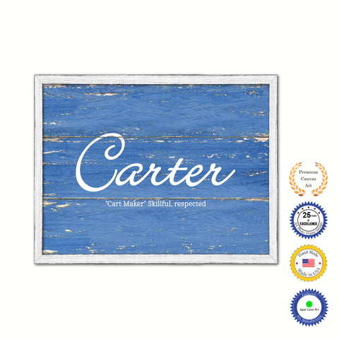 Carter Name Plate White Wash Wood Frame Canvas Print Boutique Cottage Decor Shabby Chic