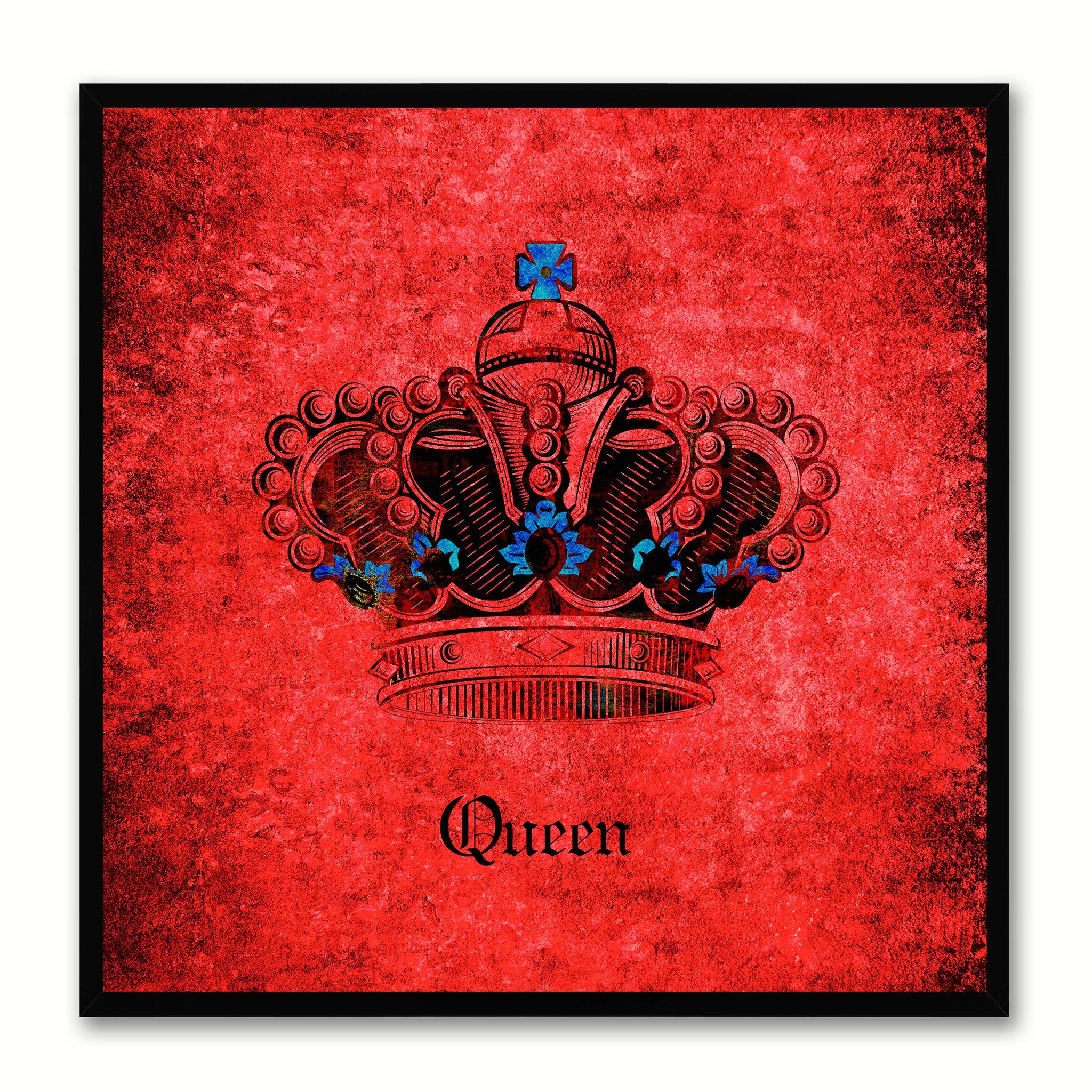 Queen Red Canvas Print Black Frame Kids Bedroom Wall Home Décor