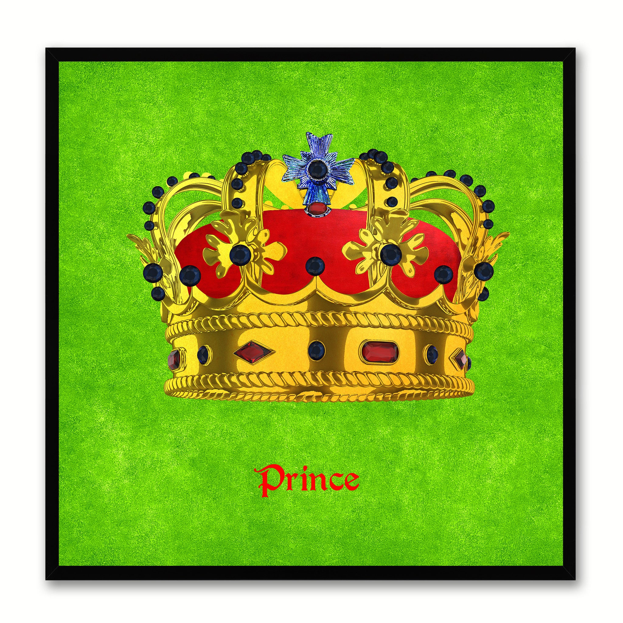 Prince Green Canvas Print Black Frame Kids Bedroom Wall Home Décor