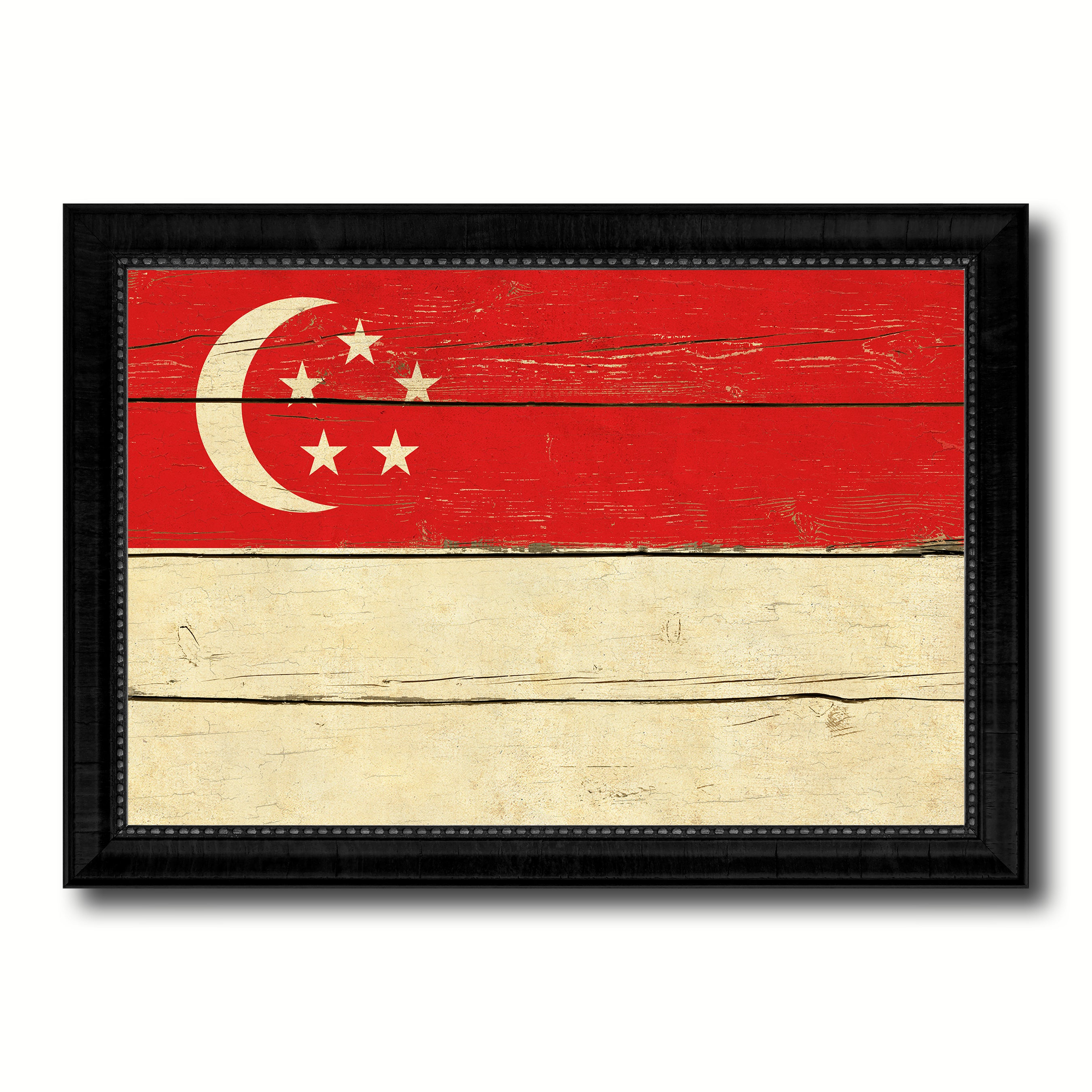Singapore Country Flag Vintage Canvas Print with Black Picture Frame Home Decor Gifts Wall Art Decoration Artwork
