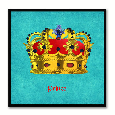Prince Aqua Canvas Print Black Frame Kids Bedroom Wall Home Décor