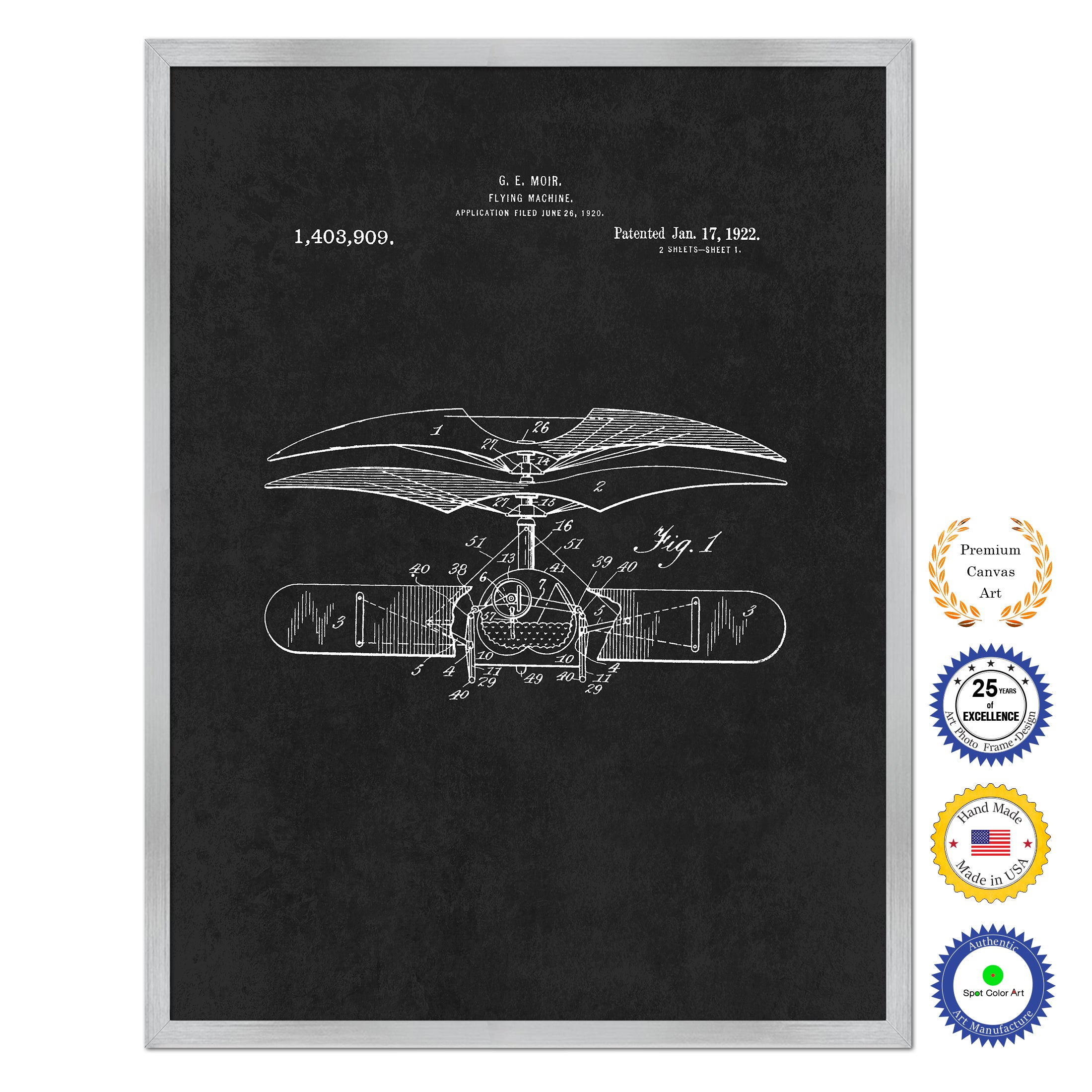 1922 Flying Machine Antique Patent Artwork Silver Framed Canvas Home Office Decor Great for Pilot Gift