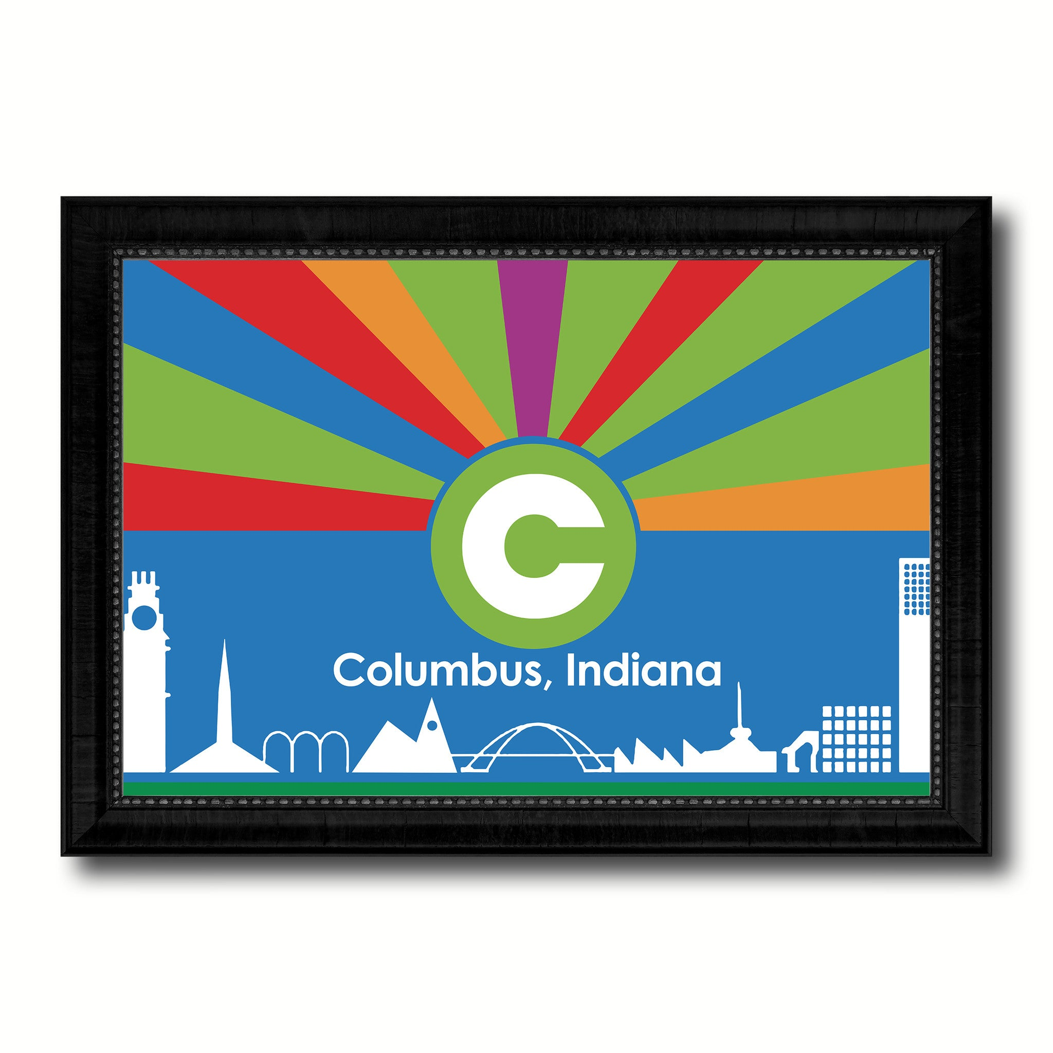 Columbus City Indiana State Flag Canvas Print Black Picture Frame