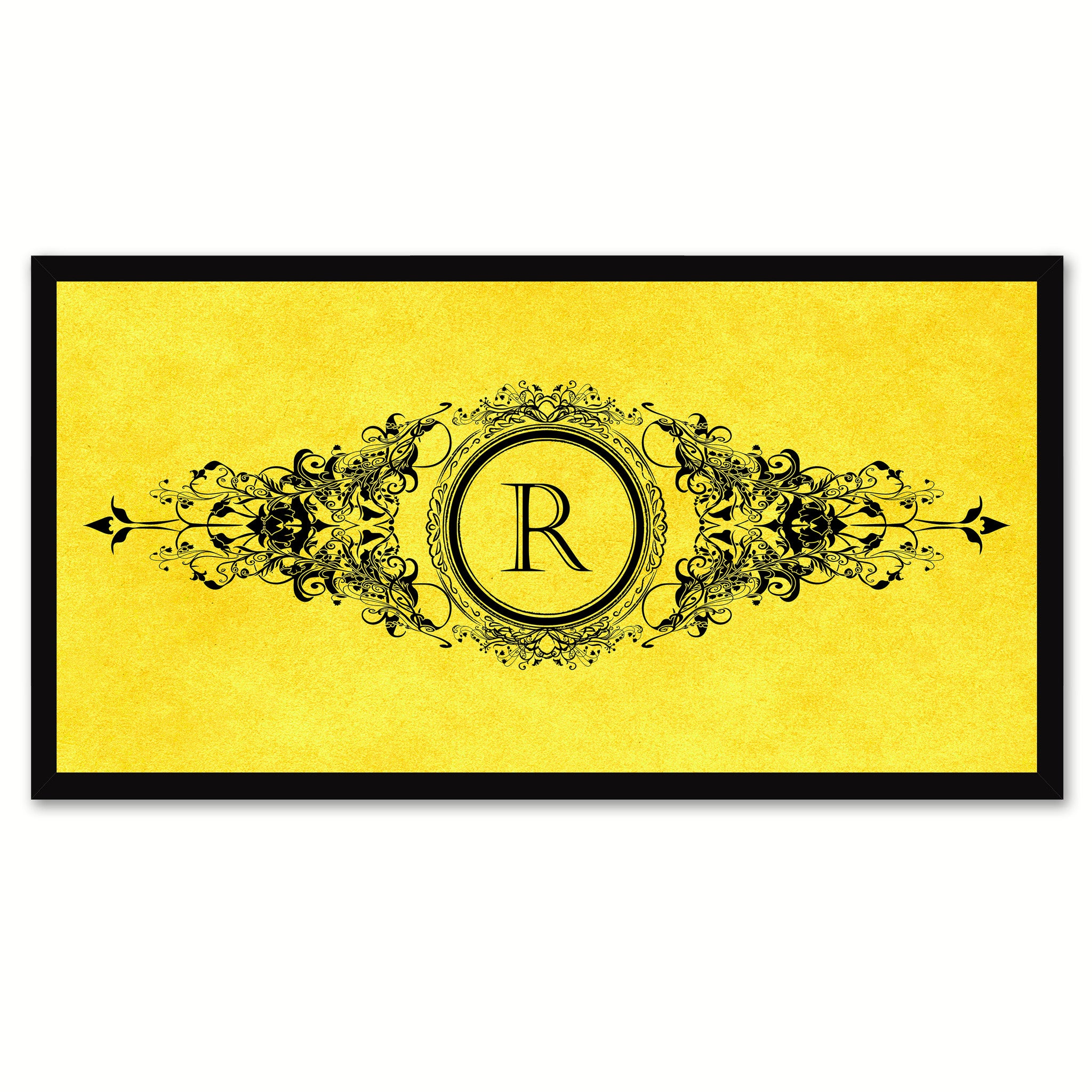 Alphabet Letter R Yellow Canvas Print, Black Custom Frame