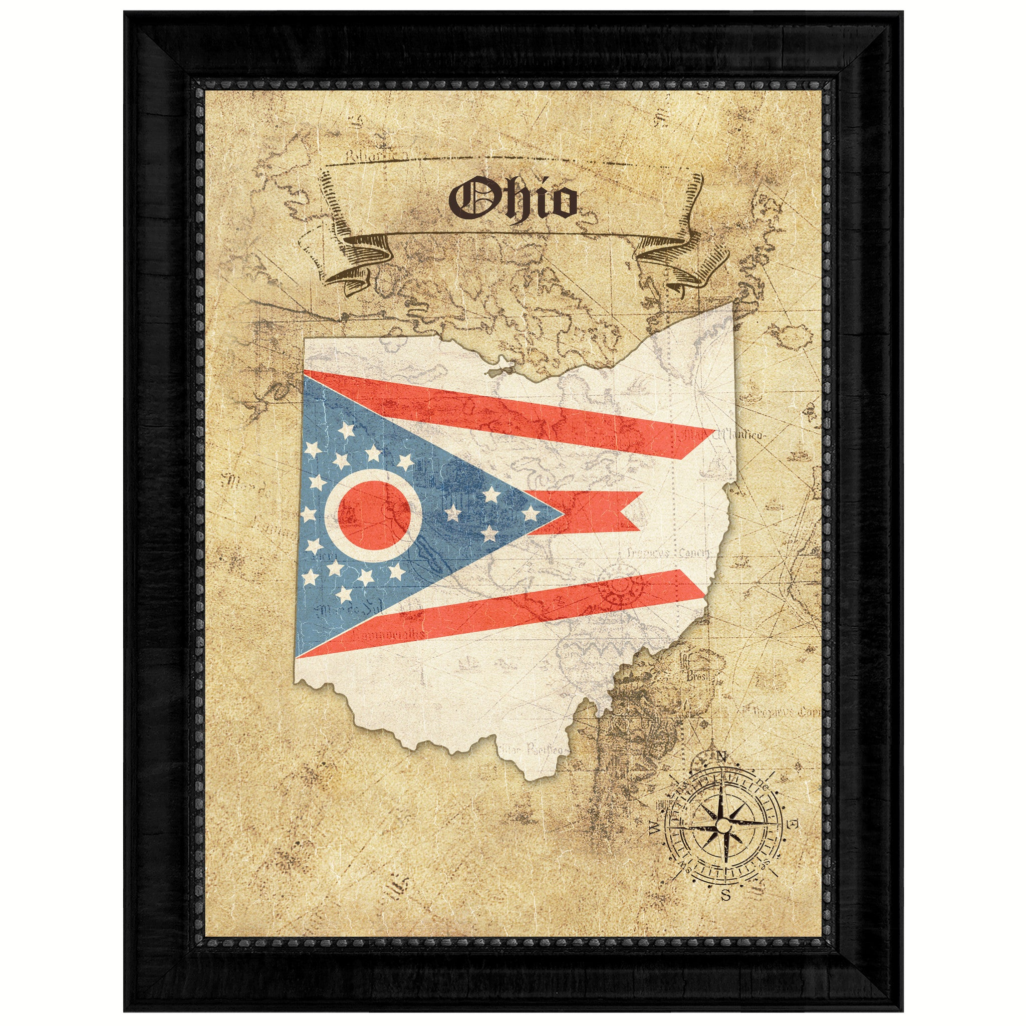 OhioState Vintage MapArt Office Wall Home Decor Rustic Gift Ideas ...