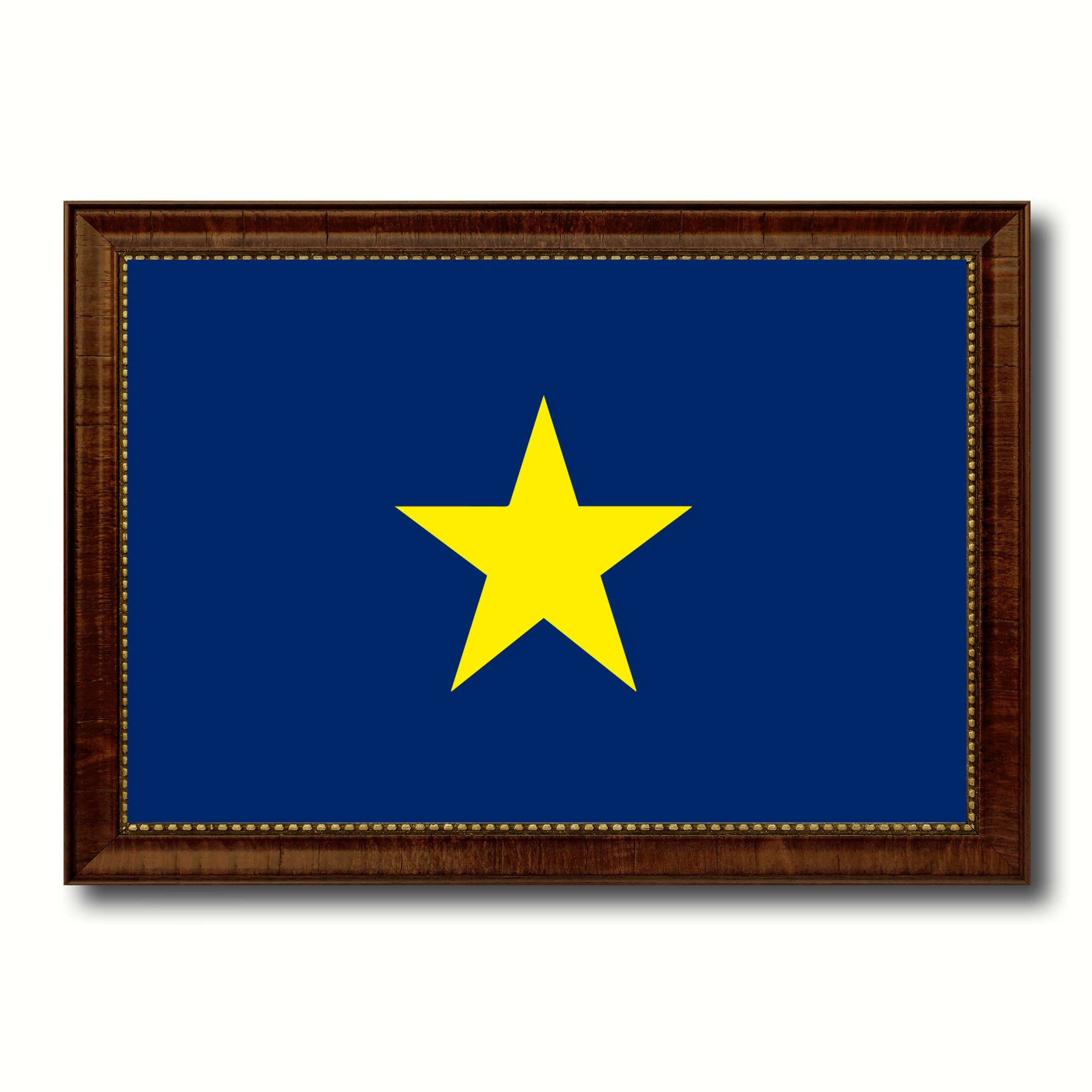 Burnet's 1st Texas Republic 1836-1839 Military Flag Canvas Print with Brown Picture Frame Home Decor Wall Art Gift Ideas