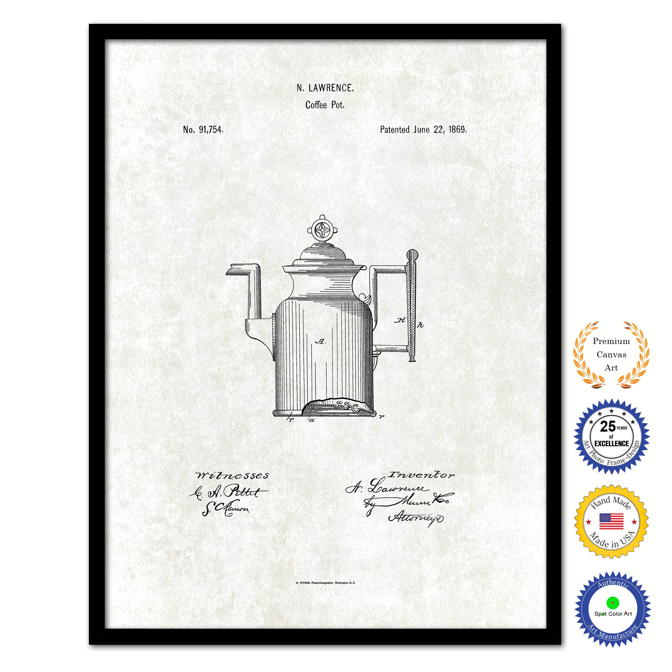 1869 Coffee Pot Vintage Patent Artwork Black Framed Canvas Print Home Office Decor Great for Coffee Lover Cafe Tea Shop
