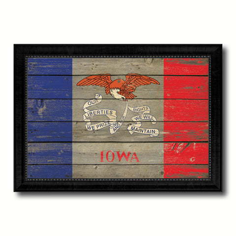 Iowa State Vintage Flag Canvas Print with Black Picture Frame Home Decor Man Cave Wall Art Collectible Decoration Artwork Gifts