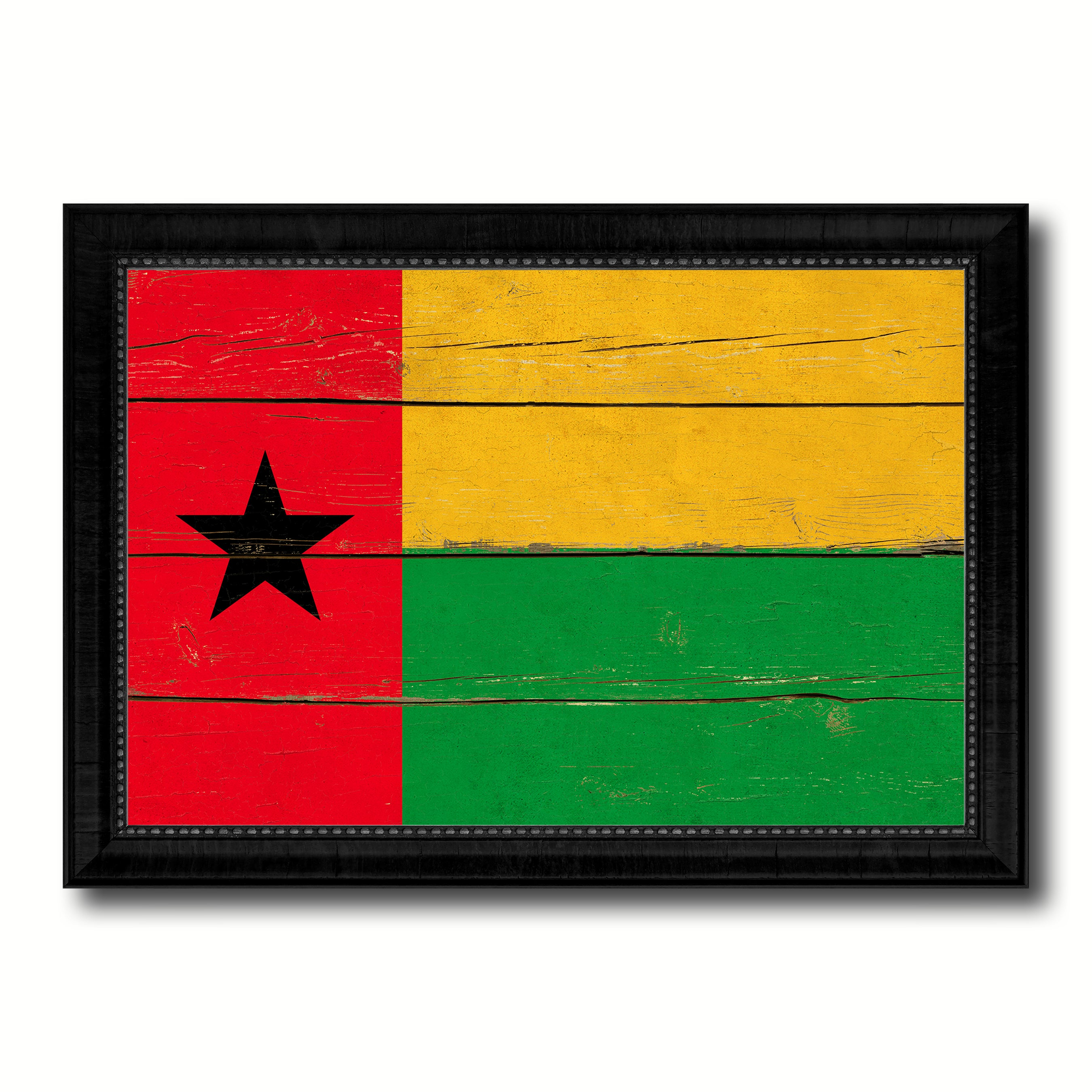 Guinea Bissau Country Flag Vintage Canvas Print with Black Picture Frame Home Decor Gifts Wall Art Decoration Artwork