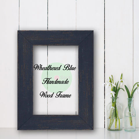 Wheathered Blue Shabby Chic Home Decor Custom Frame Great for Farmhouse Vintage Rustic Wood Picture Frame