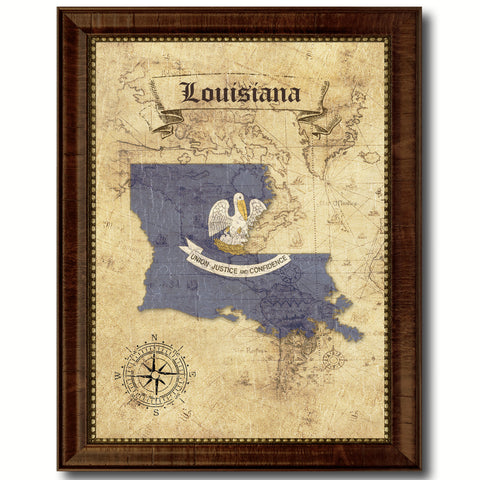 Louisiana State Vintage Map Home Decor Wall Art Office Decoration Gift Ideas