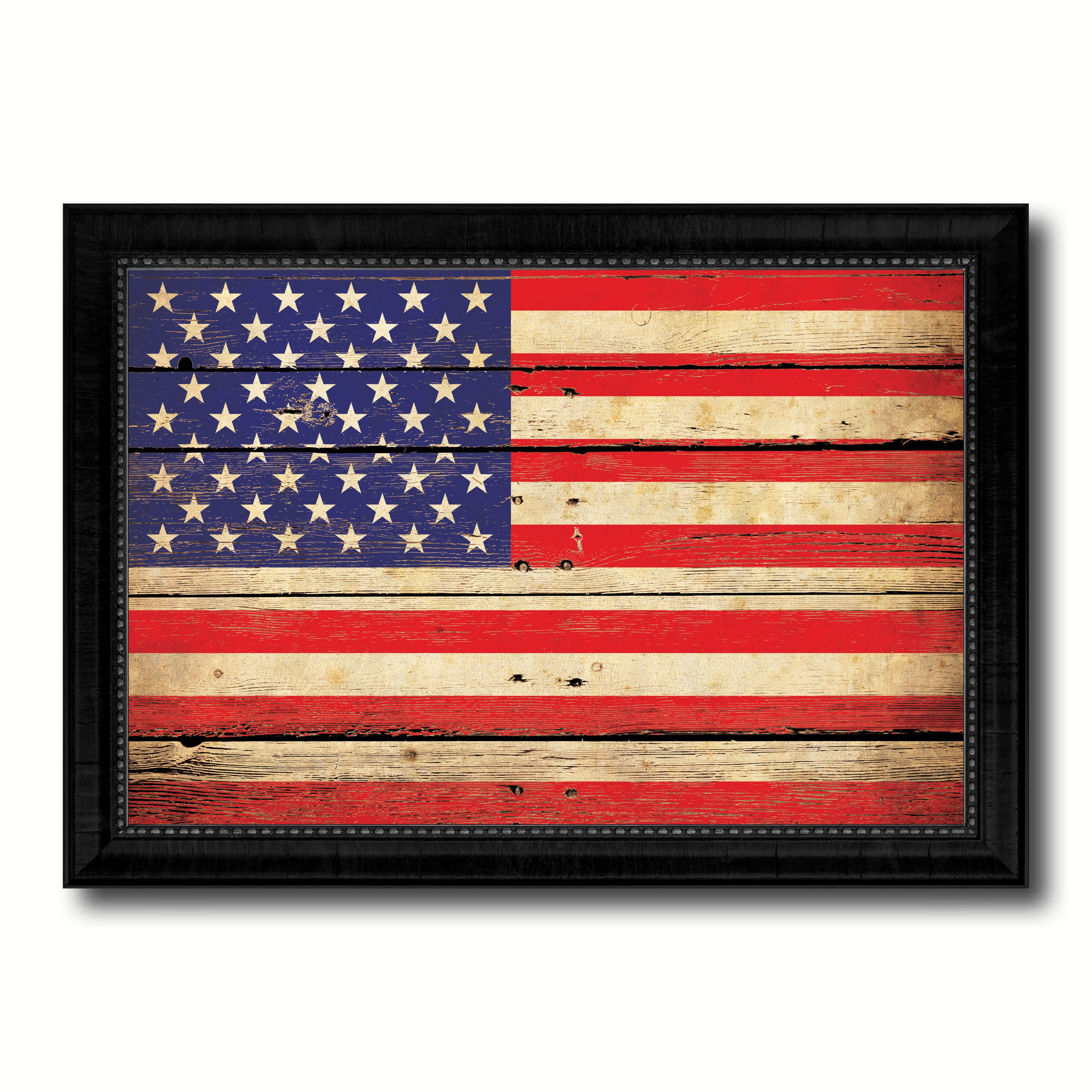American Flag Vintage Canvas Print with Black Picture Frame Home Decor Man Cave Wall Art Collectible Decoration Artwork Gifts