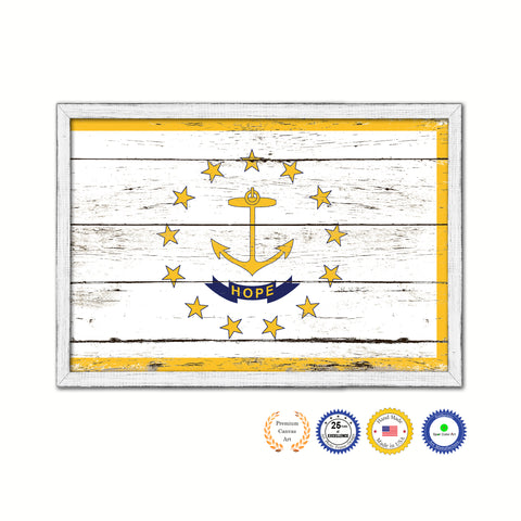 Rhode Island State Flag Shabby Chic Gifts Home Decor Wall Art Canvas Print, White Wash Wood Frame