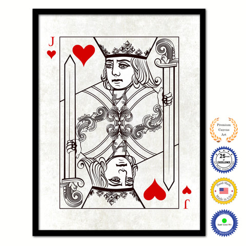 Ace Spades Poker Decks of Vintage Cards Print on Canvas Brown Custom Framed