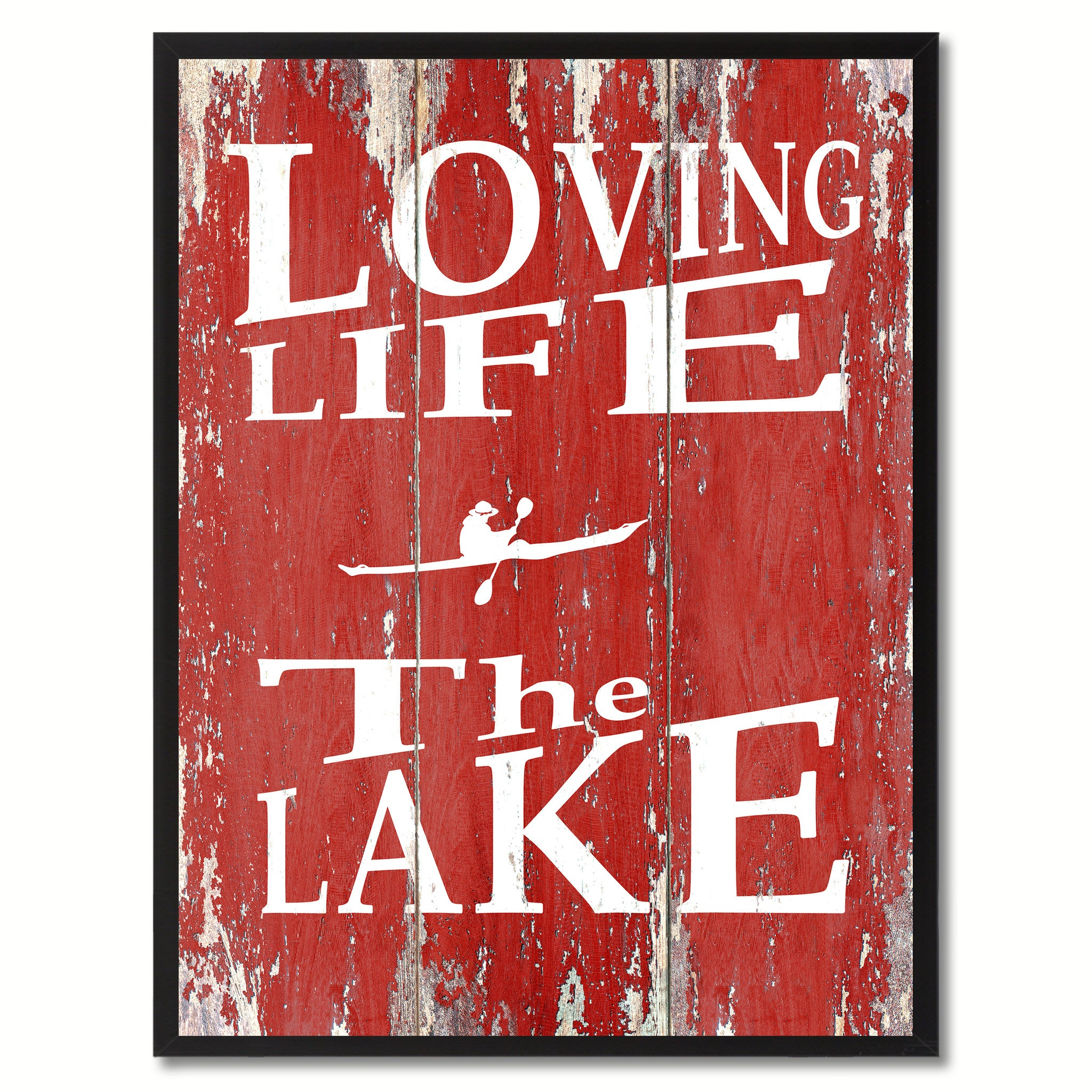 Loving Life The Lake Saying Canvas Print, Black Picture Frame Home Decor Wall Art Gifts