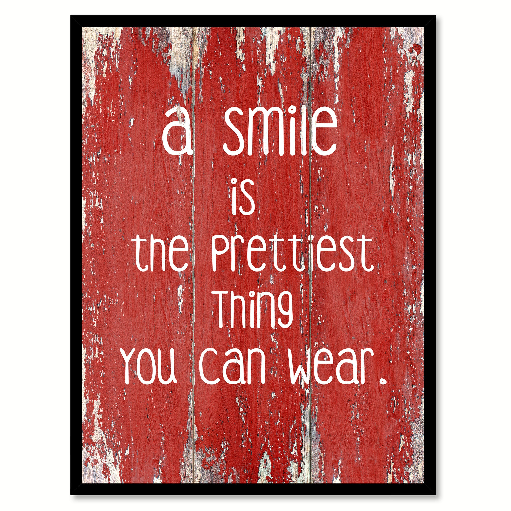 A Smile Is The Prettiest Thing You Can Wear Inspirational Quote Saying Gift  Ideas Home Décor Wall Art