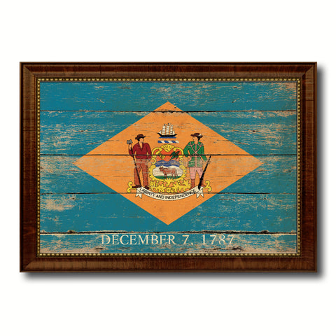 Delaware State Vintage Flag Canvas Print with Brown Picture Frame Home Decor Man Cave Wall Art Collectible Decoration Artwork Gifts