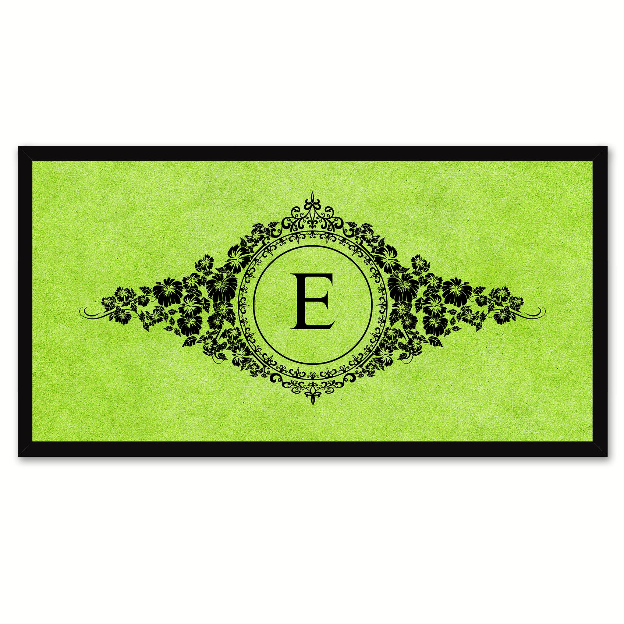 Alphabet Letter E Green Canvas Print, Black Custom Frame