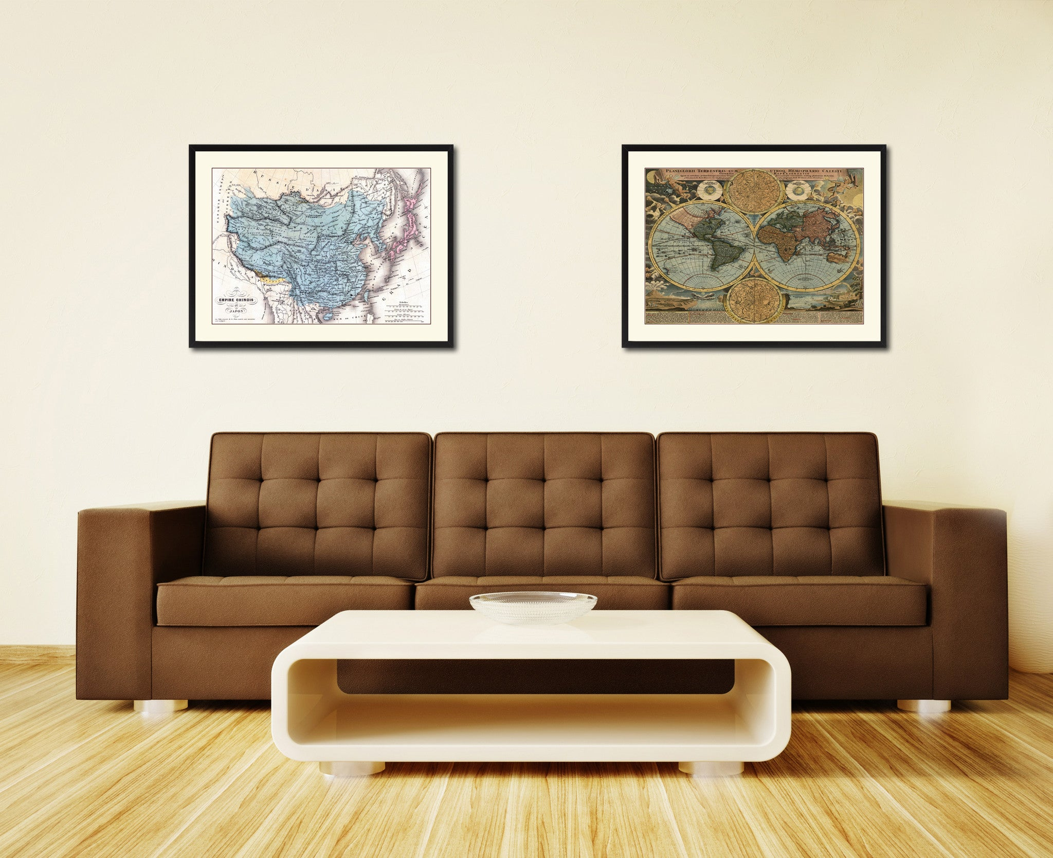 China Japan Korea Vintage Antique Map Wall Art Home Decor Gift Ideas Canvas Print Custom Picture Frame