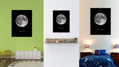 Moon Print on Canvas Planets of Solar System Black Custom Framed Art Home Decor Wall Office Decoration