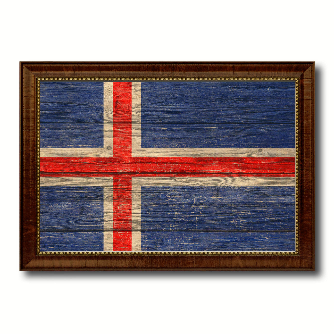 Iceland Country Flag Texture Canvas Print with Brown Custom Picture Frame Home Decor Gift Ideas Wall Art Decoration
