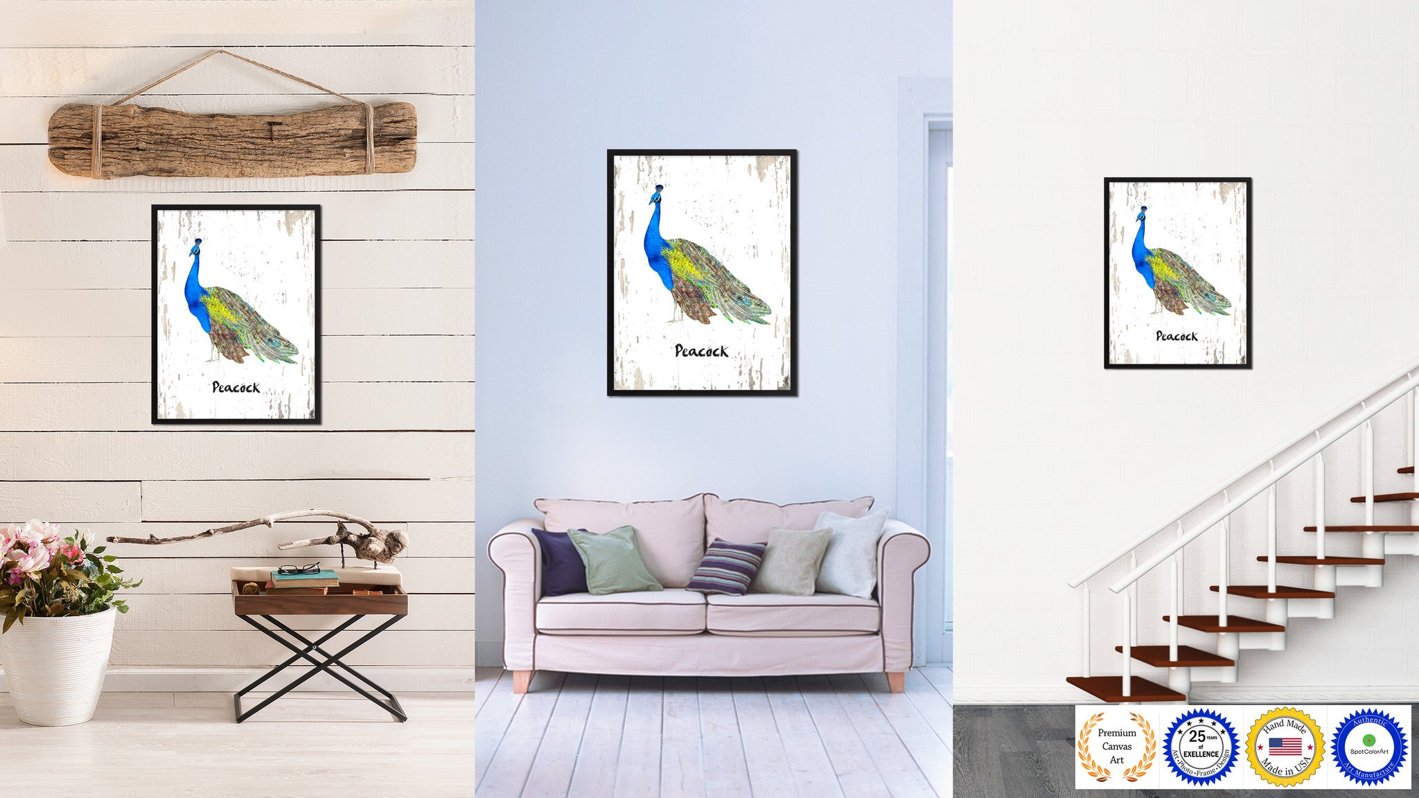 Peacock Bird Canvas Print, Black Picture Frame Gift Ideas Home Decor Wall  Art Decoration