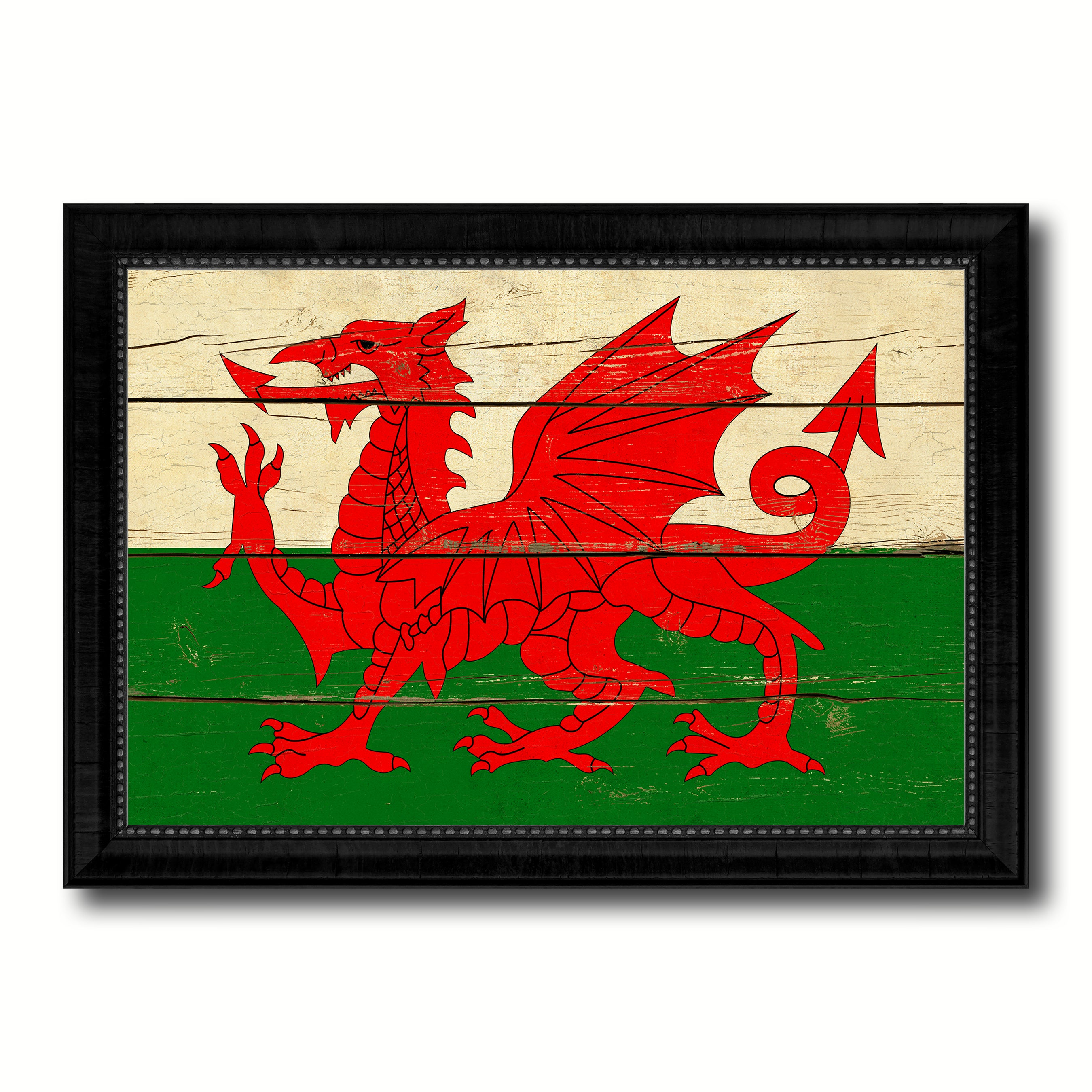 Wales Country Flag Vintage Canvas Print with Black Picture Frame Home Decor Gifts Wall Art Decoration Artwork