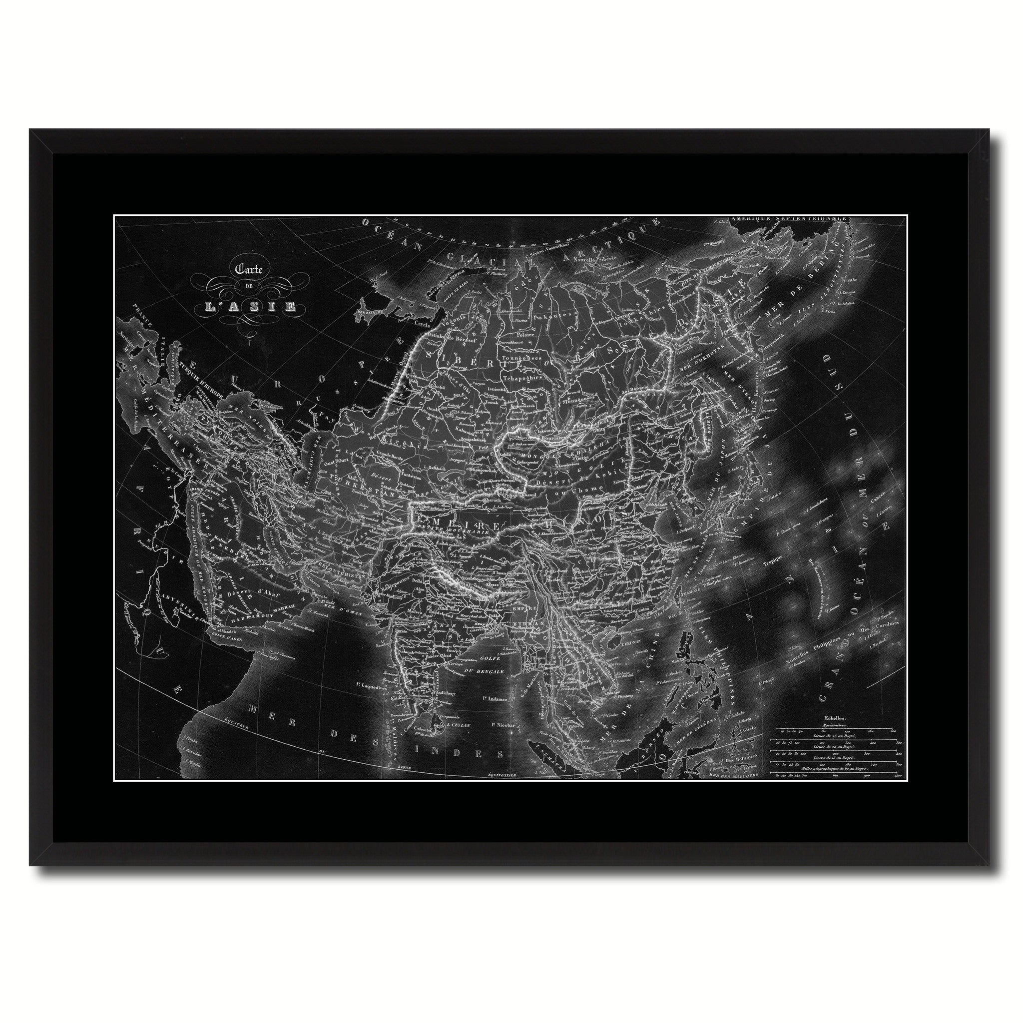 Asia Vintage Monochrome Map Canvas Print, Gifts Picture Frames Home Decor Wall Art